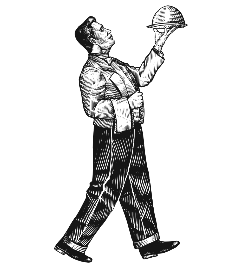 An engraved illustration of a butler carrying a tray.